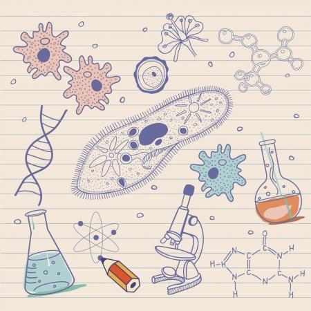 Biologie skizziert Hintergrund im Vintage-Stil