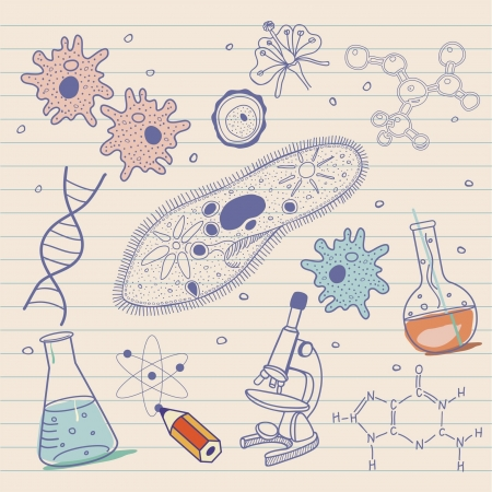 Biology sketches background in vintage style