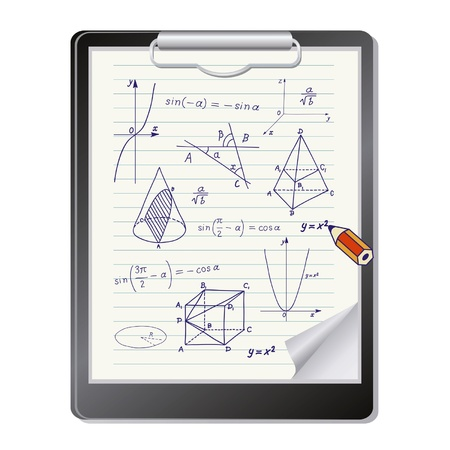 Clipboard with mathematics geometric shapes and expressions sketches Vector
