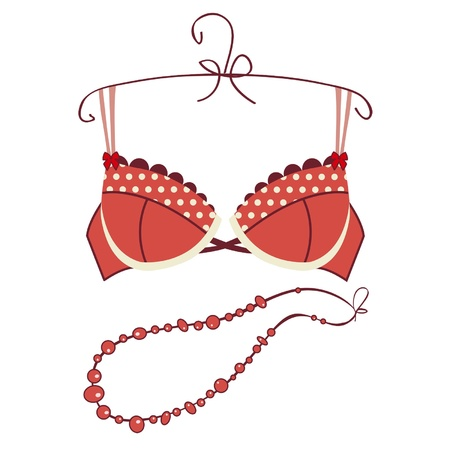 Sexy vintage red bra  Vector