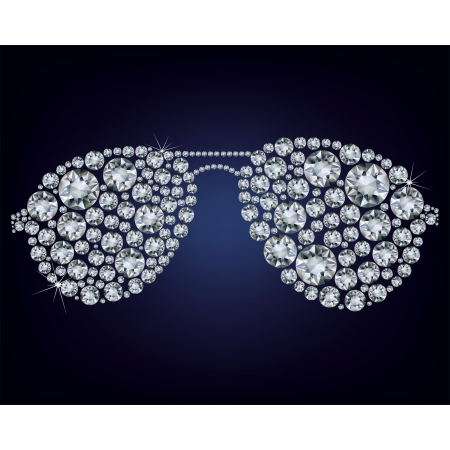 eyewear fashion:  illustration of  glasses made up a lot of diamonds on the black background  Illustration