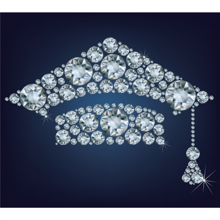 gorros de graduacion: Copa Educación hecho de diamantes