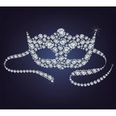 maski: Carnival weneckie maski wykonane z diamentów. Ilustracja
