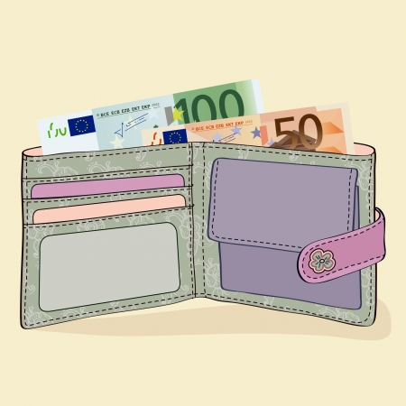 Illustration of wallet with 50 and 100 Euro bills Stock Vector - 20846616