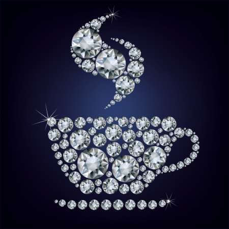 Illustration of cup made up a lot of diamonds on the black background Stock Vector - 24365931