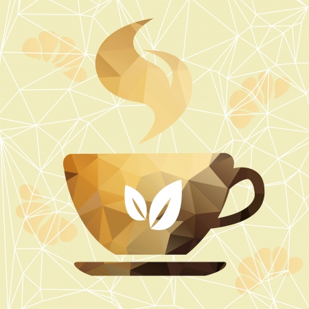 Vector triangle cup  Abstract cup of geometric shapes  Sign of the orange cup      Abstract cup of coffee on a geometric background  Illustration