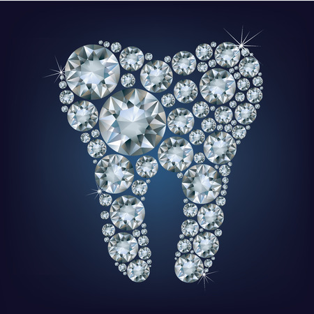 illustration of tooth made up a lot of diamonds on the black background  Vector
