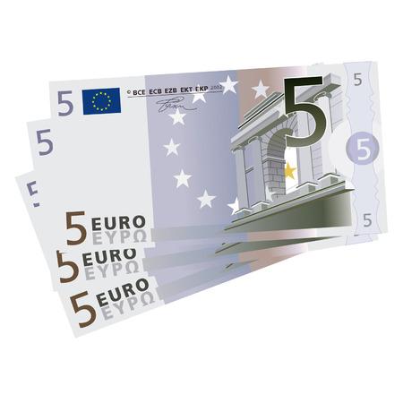 euro bill: drawing of three 5 Euro bills  Illustration