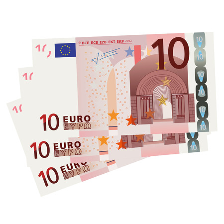 european exchange: Vector drawing of a 3x 10 Euro bills  Illustration