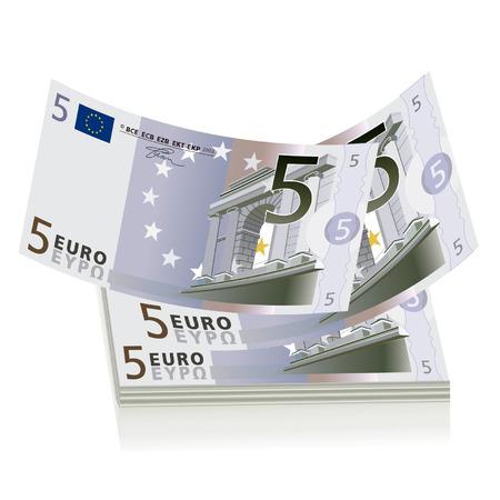分離された 3 x 5 ユーロ紙幣の図面