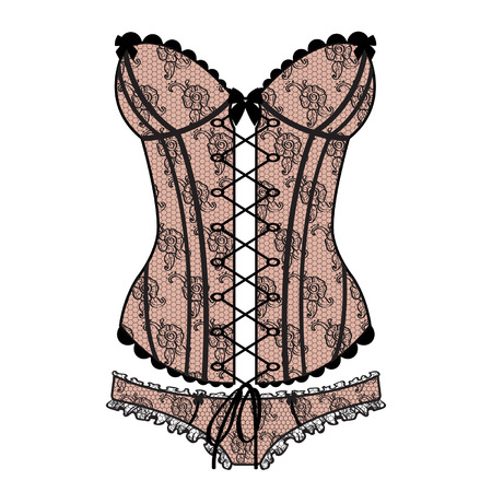 Lady s sexy guipure corset  Ilustrace