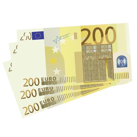 euro bill: Vector drawing of a 3x 200 Euro bills