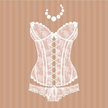 Vintage sexy guipure corset  Vector