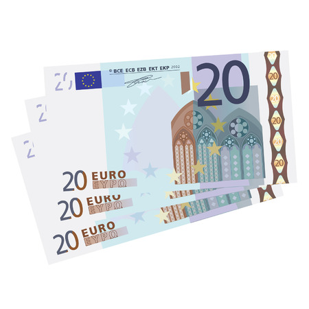 20 euro: drawing of a 3x 20 Euro bills  Illustration