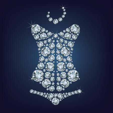 Lady s sexy corset made from diamonds  Vector