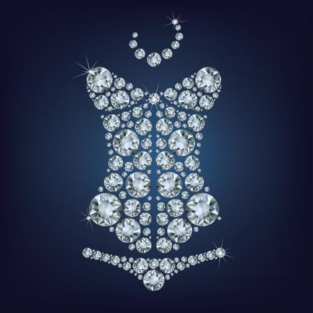 Señora s atractivo del corsé hecho de diamantes Ilustración de vector