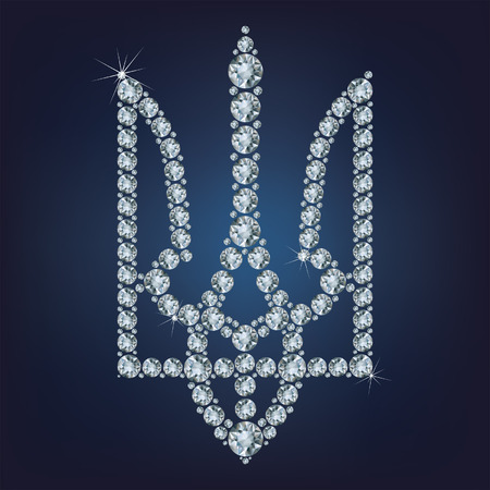 Coat of arms of Ukraine made from diamonds