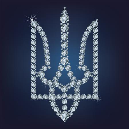 Coat of arms of Ukraine made from diamonds Reklamní fotografie - 28510240