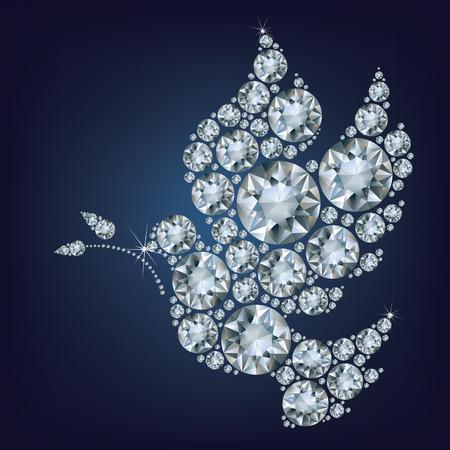 Vredesduif met olijftak gemaakt van diamanten
