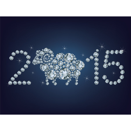 Happy new year 2015 creative greeting card with sheep made up a lot of diamonds Vector
