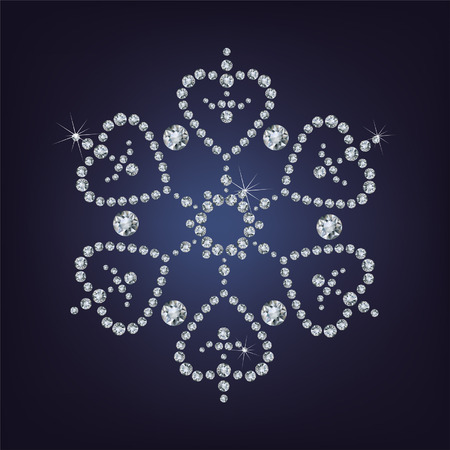 Snowflake made from diamonds illustration  Vector