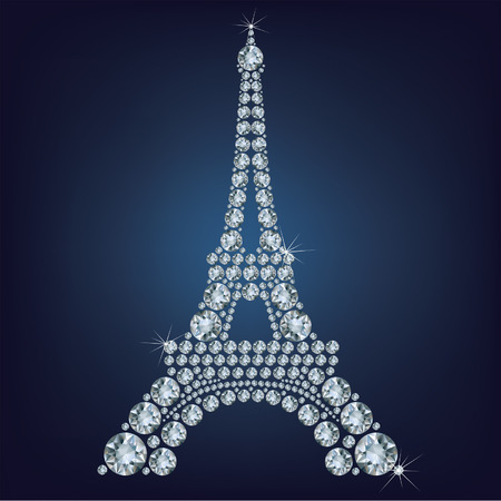 tower tall: Eiffel tower - Paris made up a lot of diamonds on the black background