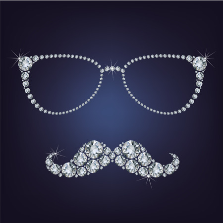 hipster mustache and glasses made up a lot of diamonds  Vector