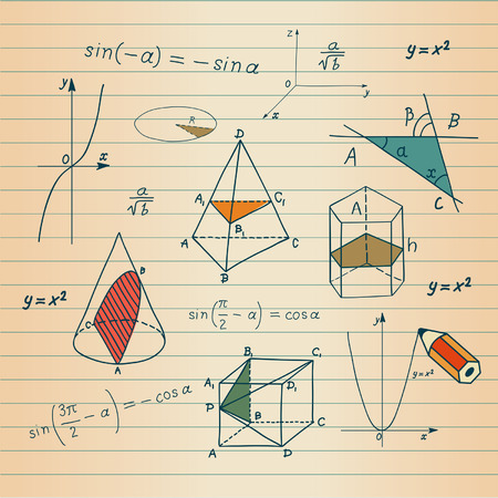 Mathematics - geometric shapes and expressions sketches  Vector