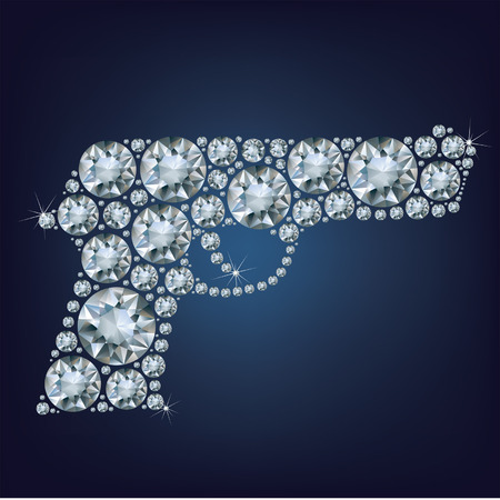 exuberance: Gun made up a lot of diamonds on the black background Illustration