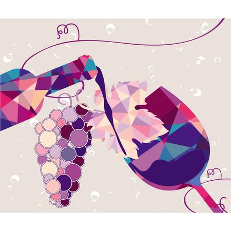 三角形から成っているブドウと赤ワインのガラス