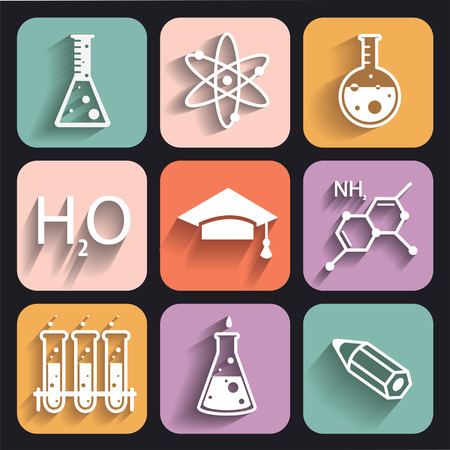 biochemistry: Colored chemistry icons  for learning and web applications