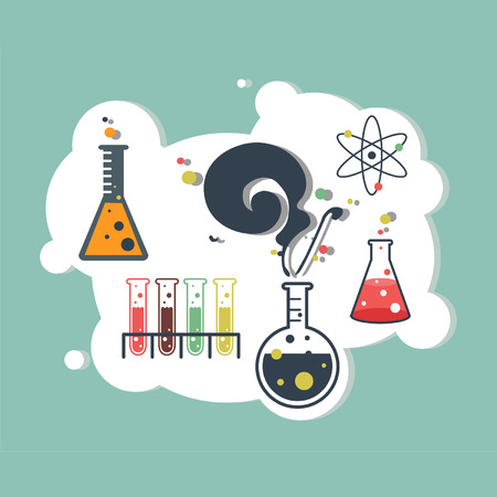 Old science and chemistry infographic laboratory Vector
