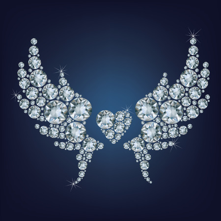 diamond heart: Heart with wings made a lot of diamonds