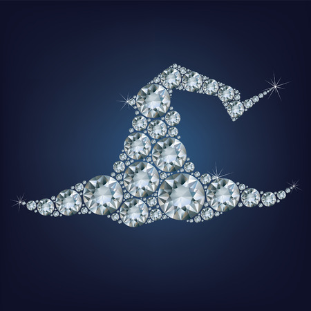 tall hat: Tall witch hat made a lot of diamonds