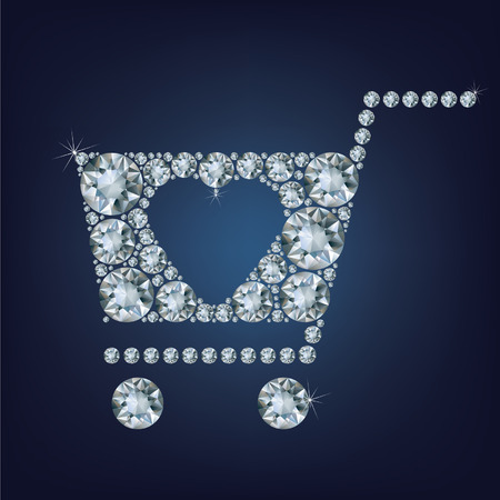 e retailers: Shopping basket sign made a lot of diamonds
