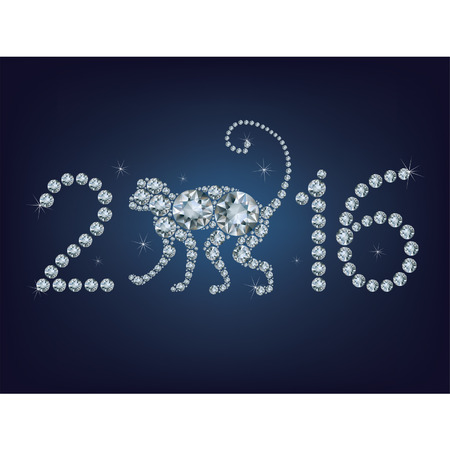 Happy new year 2016 creative greeting card with monkey made up a lot of diamonds Vector