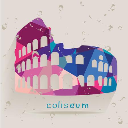 italian tradition: Roman coliseum silhouette made of triangles