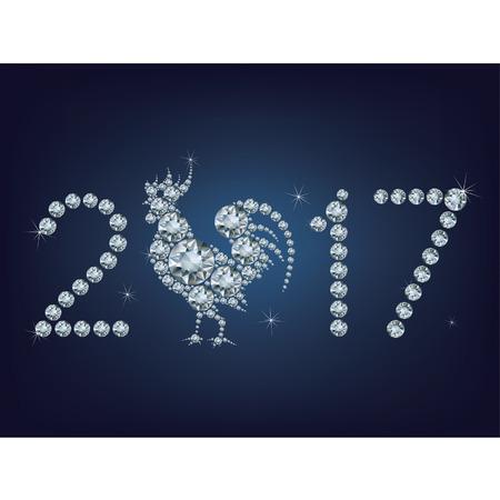 frohes neues jahr: Frohes neues Jahr 2017 kreative Grußkarte mit Hahn machte eine Menge von Diamanten
