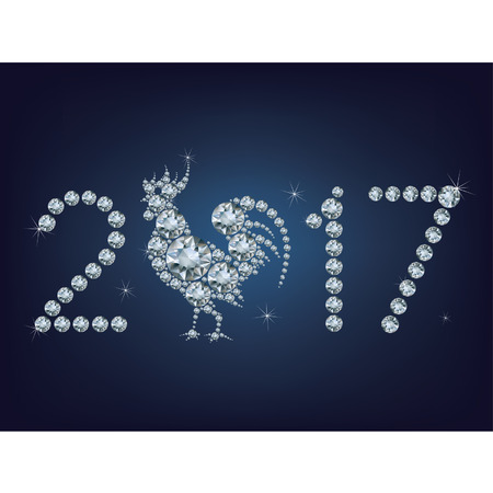 Happy new year 2017 creative greeting card with Rooster made up a lot of diamonds Illustration
