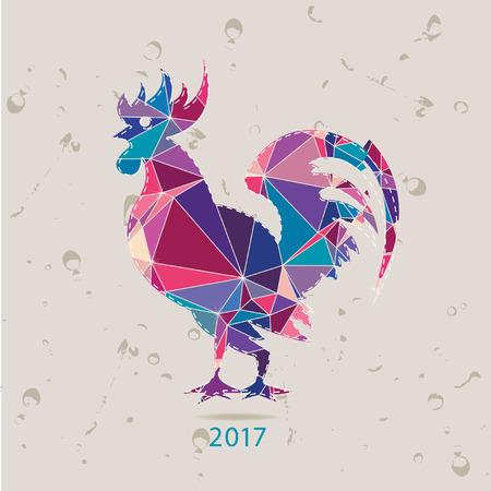 year of rooster: La tarjeta 2017 nuevo a�o con gallo hecho de tri�ngulos Vectores