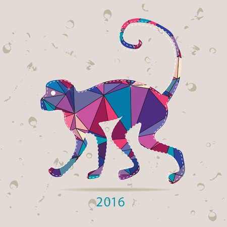 zoological: Happy new year 2016 creative greeting card with monkey made of triangles Illustration