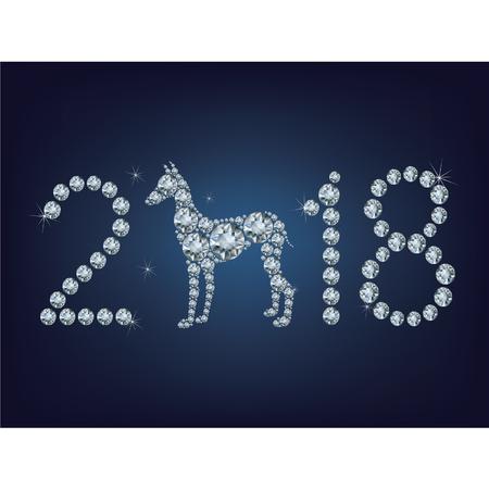 Gelukkig Nieuwjaar 2018 creative wenskaart met Dog bestaat uit een heleboel diamanten