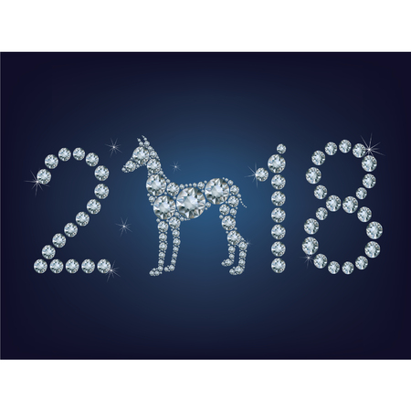 year of the dog: Happy new year 2018 creative greeting card with Dog made up a lot of diamonds