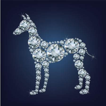 2018 new year card with dog made up a lot of diamonds on the black background Vetores