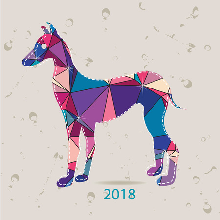 The 2018 new year card with Dog made of triangles
