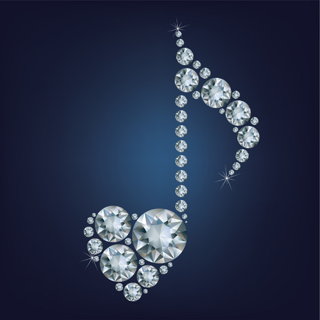 music symbol: Shiny bright Diamond Music Note symbol with heart made a lot of diamonds