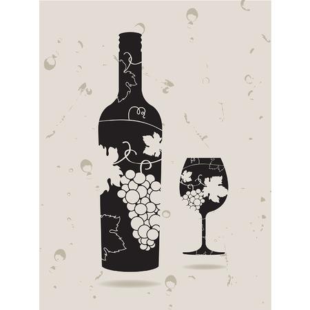 pouring: Bottle wine glass grapes Illustration