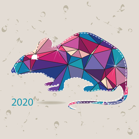 year of the rat: The 2020 new year card with Rat made of triangles