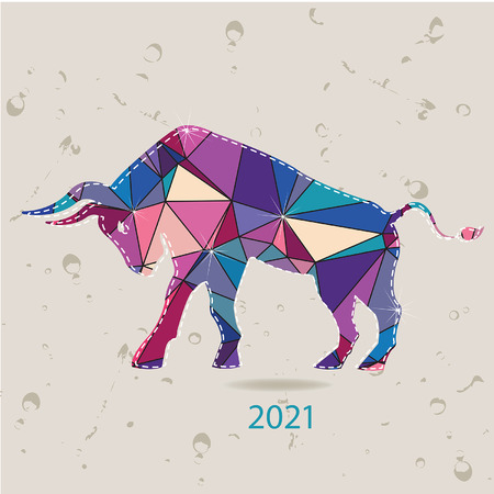 The 2021 new year card with Bull made of triangles