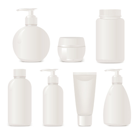 no name: White no name set of plastic cosmetic containers. Isolated on white Illustration